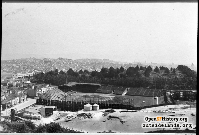View east from Lone Mountain to Ewing Field, circa 1920.