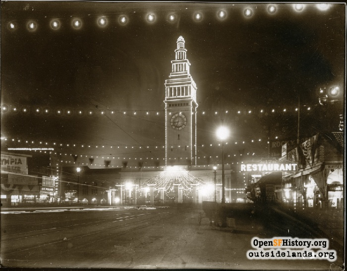 Ferry Building and Market Street decorated for Portola Festival, October 1909.