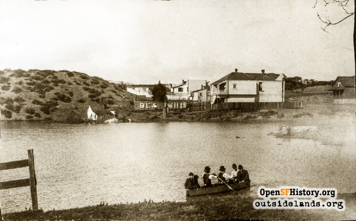 People in rowboat on Kelly's Pond, 1880s.