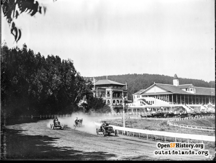 Auto racing at Ingleside Racetrack, early 1900s.