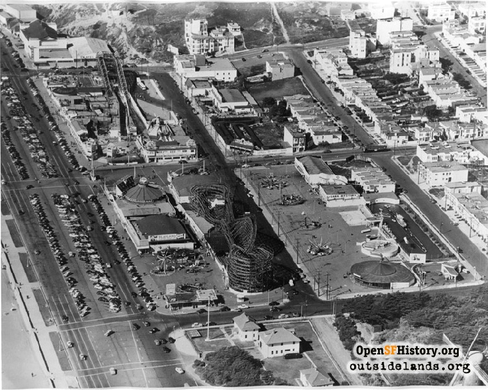 Aerial view of Playland with Shoot-the-Chutes ride, circa 1949.