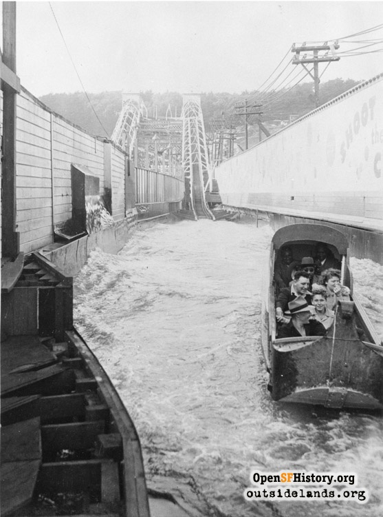 Bottom of the Shoot-the-Chutes ride at Chutes at the Beach, circa 1930.