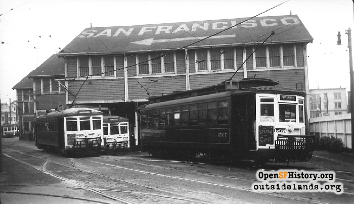 McAllister Car Barn and streetcars, circa 1937.