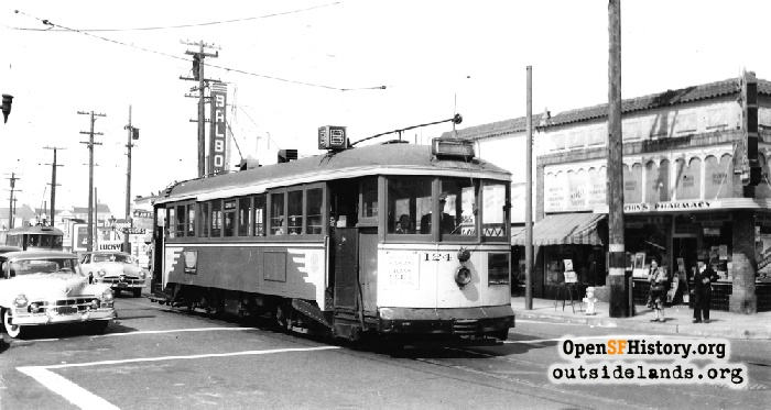 B-Line streetcar on Balboa Street at 37th Avenue with Balboa Theater in background, 1950.