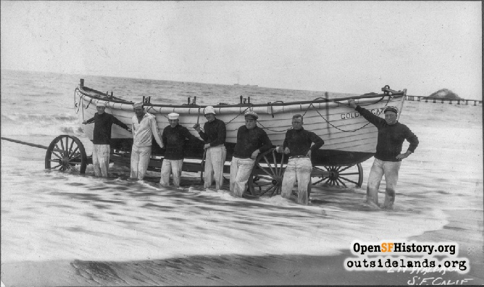 Seven men posing in front of surf boat 'Golden Gate' on wheeled cart. Lurline (Olympic) Pier and Seal Rocks in background, 1920s.