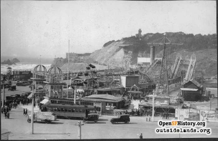 View north at Chutes amusement park, circa 1922.