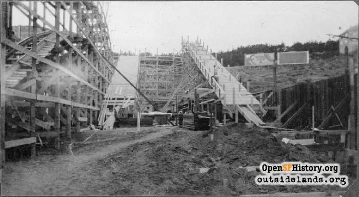 Shoot the Chutes under construction, early 1920s.