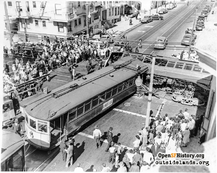 MUNI 31-line streetcar #976 in collision with 21-line streetcar #116 on July 24, 1947.
