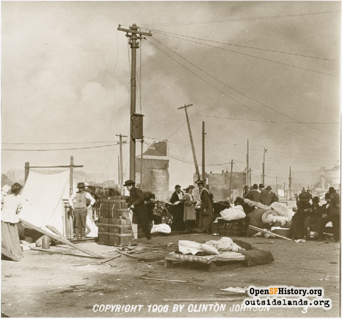 Looking north along Embarcadero at refugees camped near Ferry Building, April 1906.