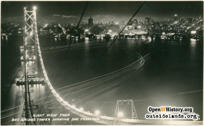Night view from Bay Bridge showing San Francisco, circa 1935.