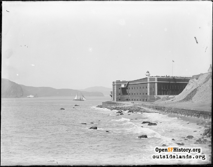 View northeast to Fort Point from pier, circa 1882.