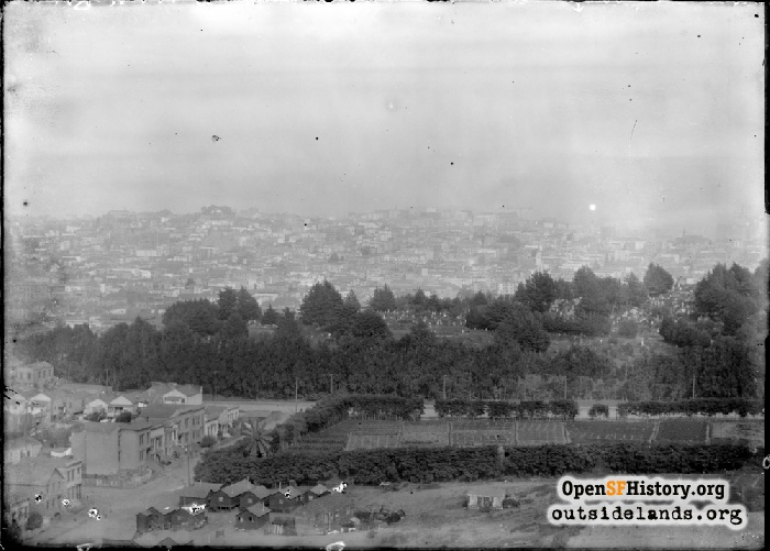 View east from Lone Mountain toward Masonic, farm at future Ewing Field site, 1908.