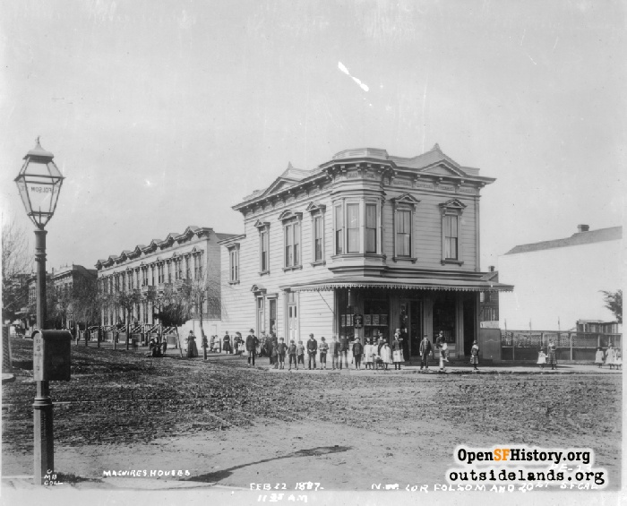 View to northwest corner of Folsom and 20th Streets, February 22, 1887.