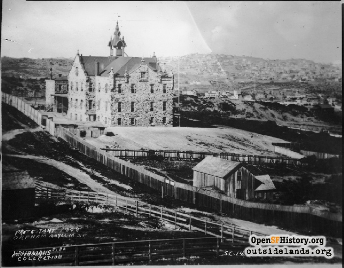 Protestant Orphanage on block surrounded by today's Haight, Buchanan, Page & Laguna Streets, 1868.