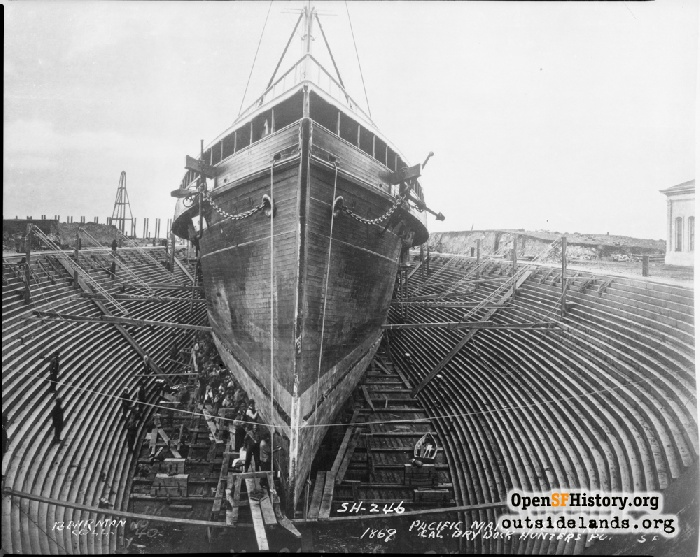 Pacific Mail Steamship Panama in Hunter's Point drydock, 1869.
