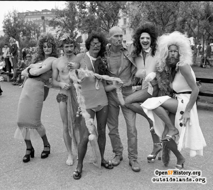 Revelers at the Civic Center during Gay Freedom Day Parade, June 30, 1974.