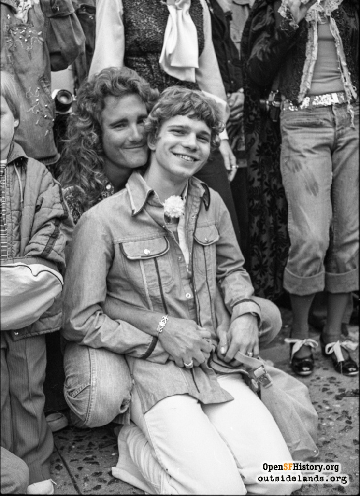 Happy couple in Civic Center during Gay Freedom Day Parade, June 30, 1974.