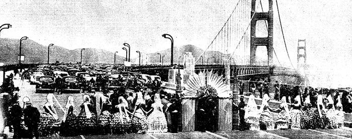 Queen Empress Vivian Sorenson and her court of 19 California beauties blocked the San Francisco side of the bridge until officials arrived from Marin.