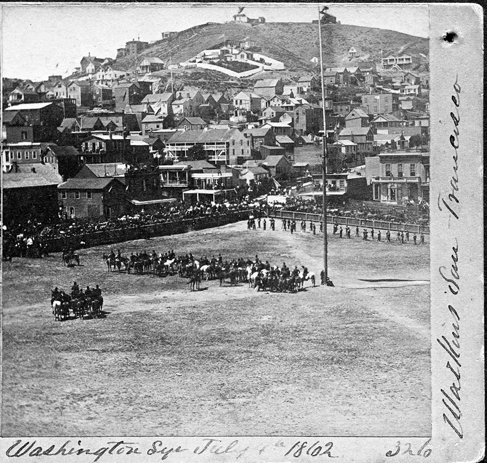 View of Washington Square on July 4, 1862. South summit of Russian Hill behind.
